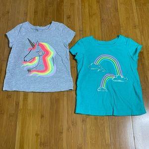 lot of 2 Cat & Jack rainbow graphic tees 4t
